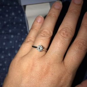 Charles & Colvard moissanite six prong solitaire